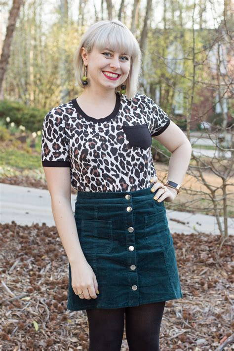 Outfit Green Corduroy Skirt Leopard Print Tee And Olive