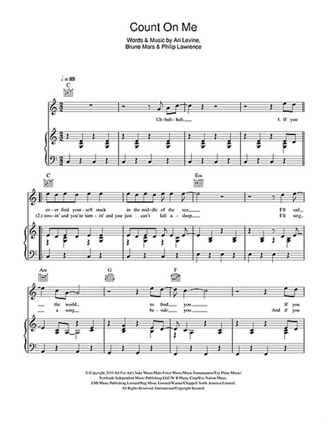 count on me sheet music by bruno mars piano vocal