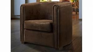 Fauteuil cabriolet microfibre aspect cuir vieilli for Fauteuil cabriolet cuir