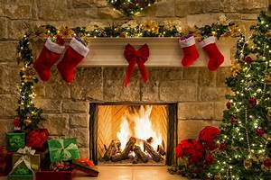 Fireplace & Knit Christmas Stockings