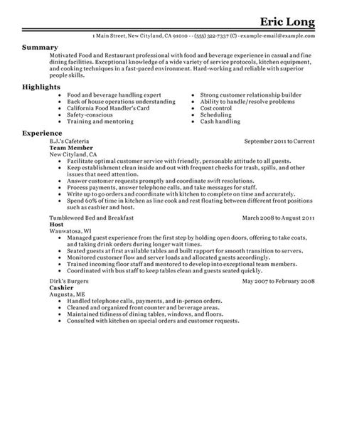 Food Service Resume No Experience by Impactful Professional Food Restaurant Resume Exles Resources Myperfectresume