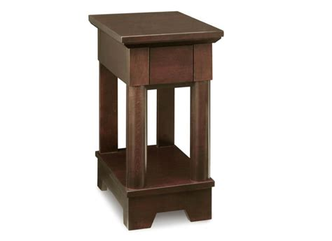 hudson valley chairside table with drawer with shelf handstone