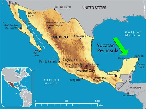 yucatan peninsula   map  mexico