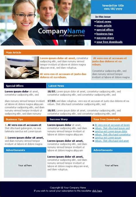 professional consultants newsletter template design