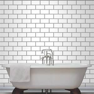 fine decor subway tile effect wallpaper black white With tile effect bathroom wallpaper