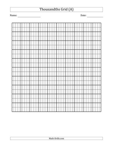 thousandths grid decimals worksheet