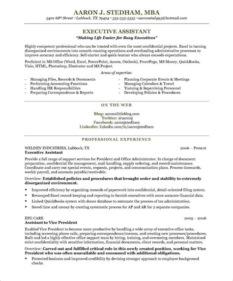Executive Assistant Resume Template by Executive Assistant Free Resume Sles Blue Sky Resumes