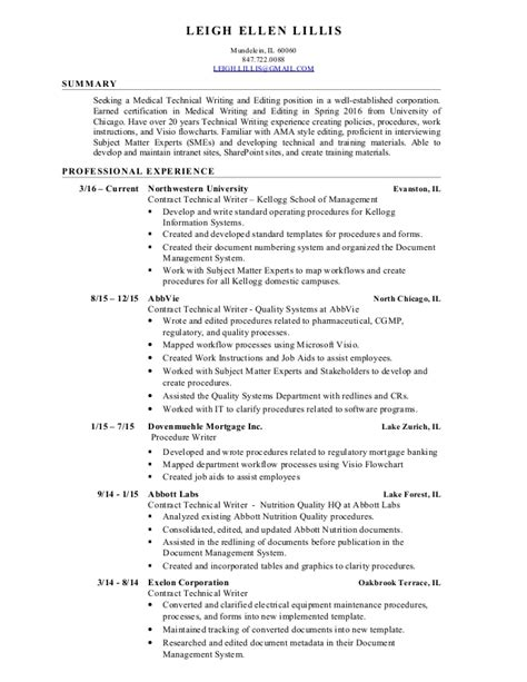 Editor Resume Doc by Leigh Lillis Technical Writing And Editing Resume 8 2016