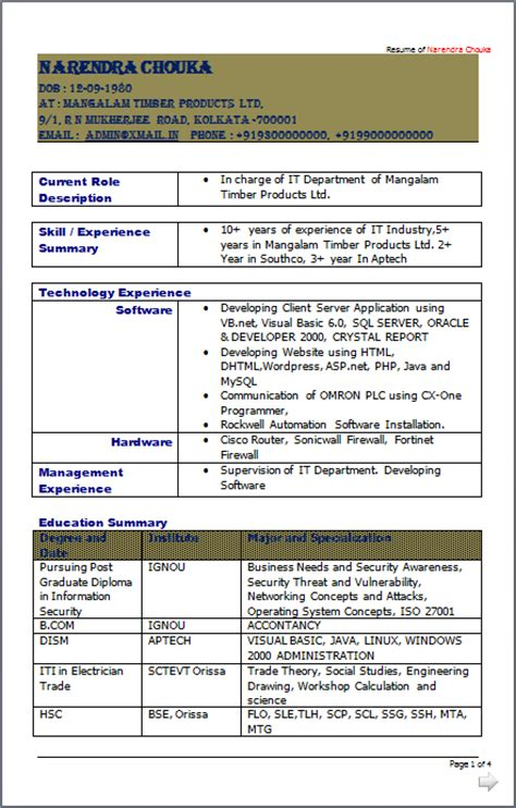 resume co it incharge it networking engineer