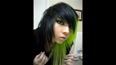 Tutorial Dying Hair Half Green And Black Youtube
