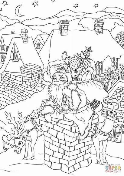 Coloring Christmas Pages Santa Claus Chimney Printable