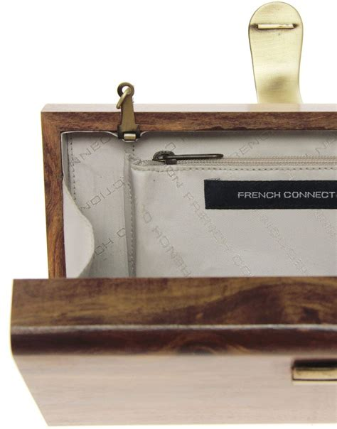 french connection  wood clutch bag   talk