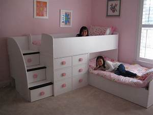 Contemporary Children Twin Beds with Storage