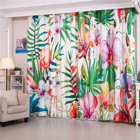 beautiful flamingo patterned bright colored curtains