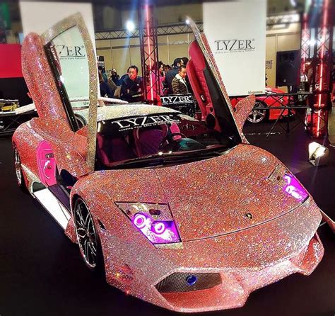 gold glitter car pink studded lambo pink nation pinterest