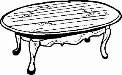 Table Pages Coloring Drawing Coffee Furniture Dining