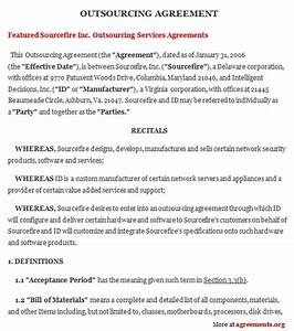 outsourcing agreement sample outsourcing agreement template With outsourcing contract template