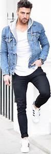 Blue denim jacket white t-shirt black jeans menu0026#39;s style and fashion http//www.99wtf.net ...