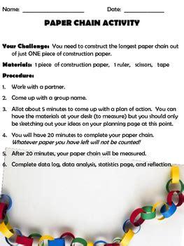 school stem activity paper chain math challenge