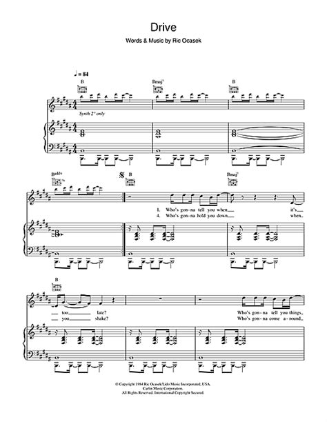 drive sheet    cars piano vocal guitar