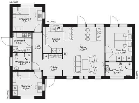 plan maison 100m2 4 chambres cuisine ideas about plan maison chambres on maison plan