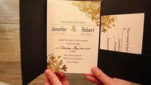 black and gold glitter pocket wedding invitations ewpi199 With pocket watch wedding invitations