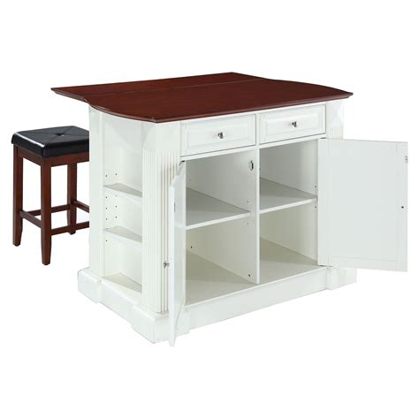 drop leaf kitchen island  white   cherry square
