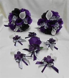 Wedding Silk Flower Bridal Bouquets Package Calla by ...
