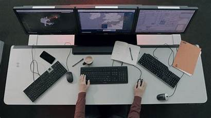 Workspace Control Monitors Reducing Clutter Visual Operator
