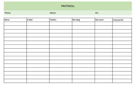 protokollvorlage und muster kostenlos excel vorlagen fuer