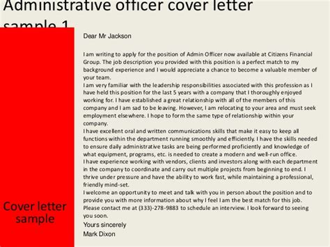 Administration Support Officer Cover Letter Administrative Officer Cover Letter
