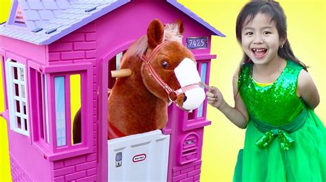 Jannie Pretend Play With Ride On Horse Toy  Youtube