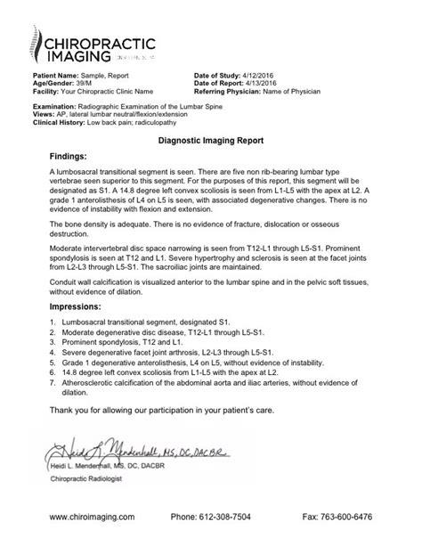 ray lumbar report samples