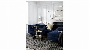 decker 2 piece navy blue velvet sectional sofa cb2 With blue 2 piece sectional sofa