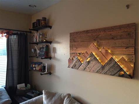 wooden mountain range wall art love  headboard