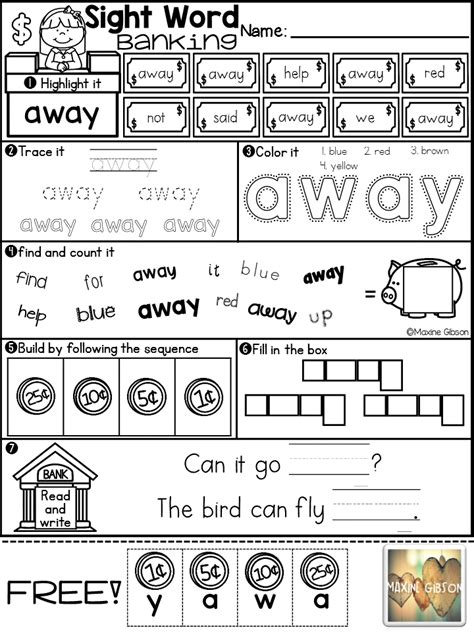 free sle sight word banking pre primer tpt free