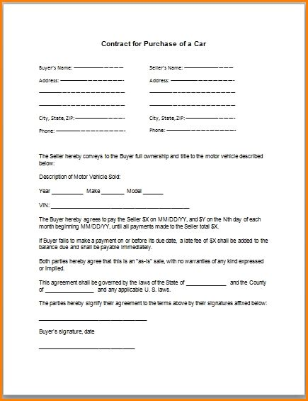 take car payments contract template 6 take car payment contract simple salary slip