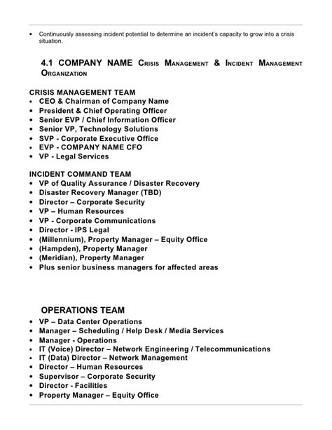 The Management Center Program Plan Template by Security Incident Response Plan Template Business Templates