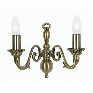 Amaro 2x60w Wall Light Fitting In Antique Brass