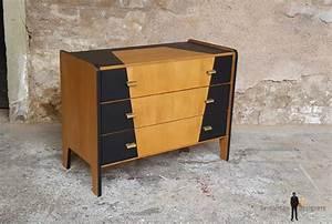 Commode Noir Et Bois : commode vintage bois 3 tiroirs graphique noir design 50 ~ Teatrodelosmanantiales.com Idées de Décoration