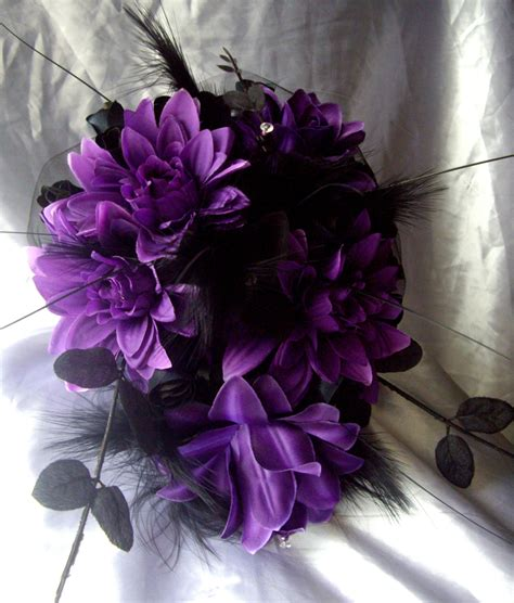 Gothic Cross Purple Silk Flowers And Black Roses Wedding
