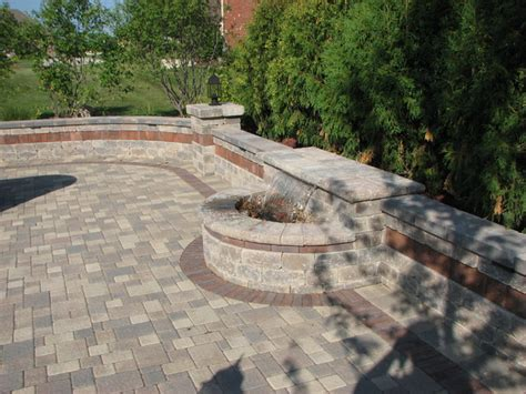 paver patio built in grill with bar water feature