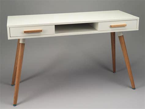 bureau de tendance bureau secrétaire de simla blanc mat et bois de chêne clair