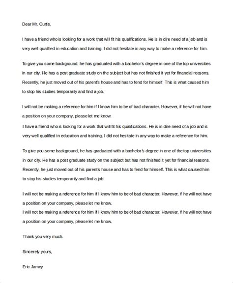 Cover Letter To A Friend by 8 Reference Letters For Friend Doc Pdf