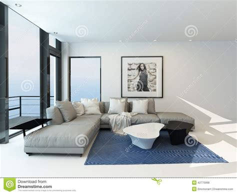int 233 rieur moderne de salon de bord de mer illustration stock image 42775998