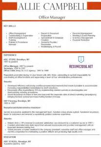 best executive resume format 2016 office manager resume 2016 best sles