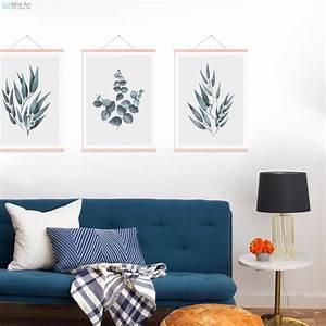 Minimalist, Green, Eucalyptus, Leaves, Wood, Framed, Poster, Scandinavian, Living, Room, Wall, Art, Picture