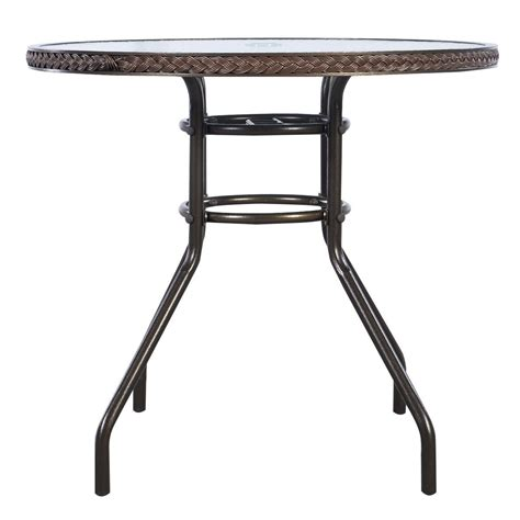 brown patio rattan table tempered glass furniture