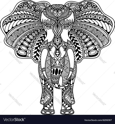 henna mehndi decorated indian elephant royalty free vector