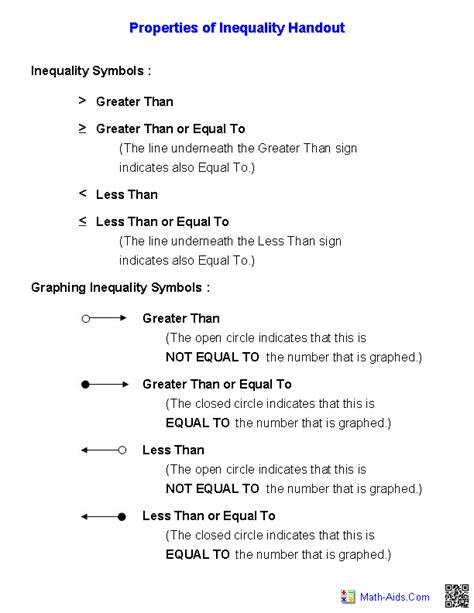 pre algebra worksheets inequalities worksheets